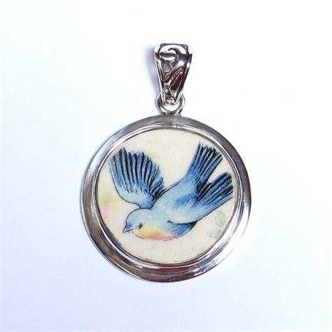 Ac 8439 Silver Blue by Broken China Jewelry Vintage Blue Bird Bluebird