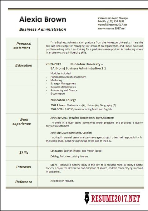 business administration resume exles business administration resume exles 2017