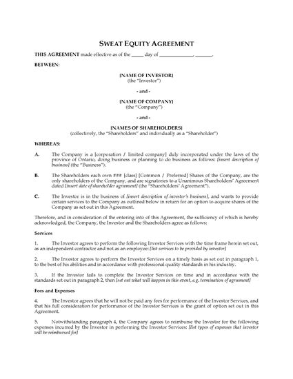 sweat equity agreement template ontario sweat equity agreement forms and business