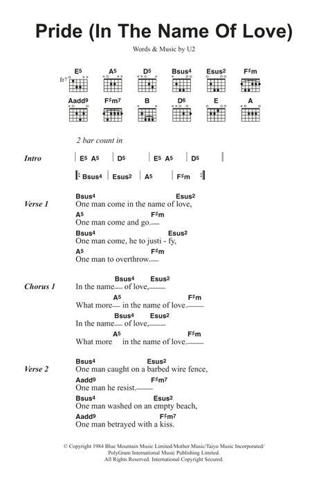 Pride In The Name Of by Pride In The Name Of By U2 Guitar Chords Lyrics
