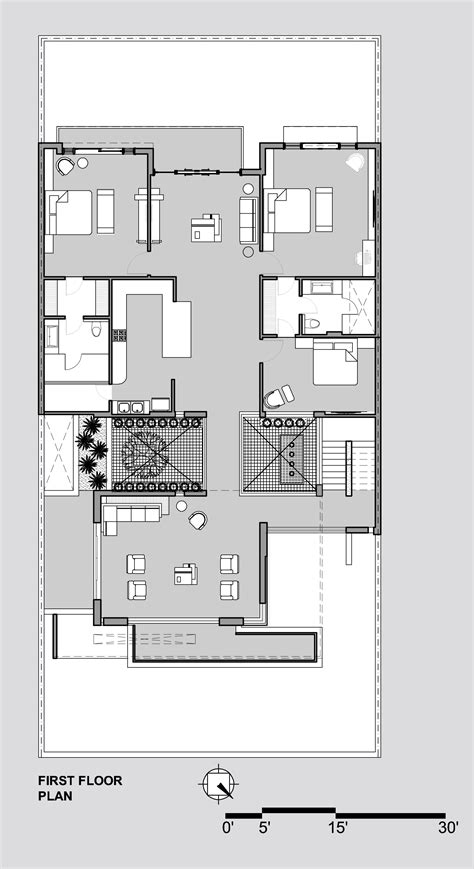 House Design Plans 3d Up And Down gallery of twin courtyard house charged voids 17