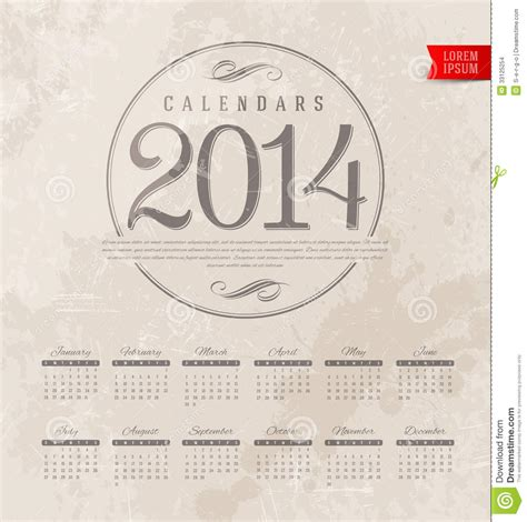 decorative calendar template decorative calendar of 2014 stock images image 33125254