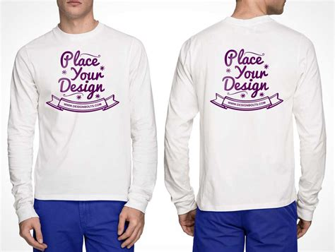 Free White Long Sleeves Front and Back T shirt PSD Mockup   PSD Mockups