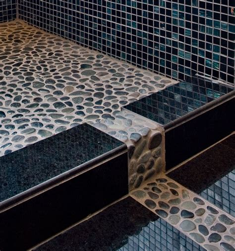 River Rock Bathroom Floor by River Rock Shower Pan Detail By Tjames42 On Deviantart