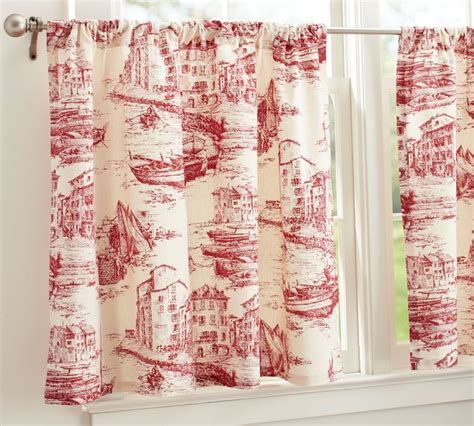 toile cafe curtains pottery barn fishing village cafe curtains red 50x36 toile