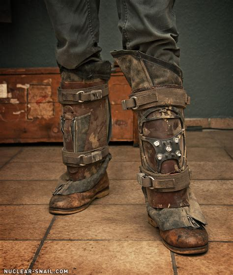apocalypse boots post apo shinguards gaiters by nuclearsnailstudios