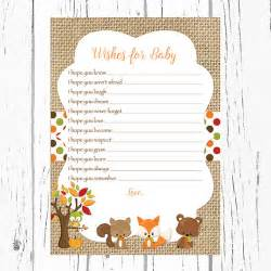 wishes for baby boy template fall woodland wishes for baby card woodland by