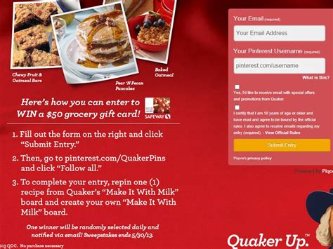 Milk Sweepstakes - quaker make it with milk sweepstakes