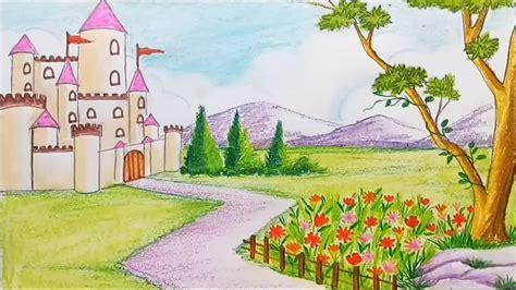 draw  scenery  flower garden  castle step