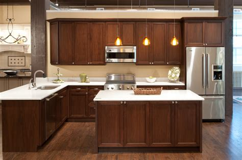 Black Metal Kitchen Cabinets Walnut Kitchen Cabinets Granite Countertops Black Marble Countertop Metal Knobs Brown Tile