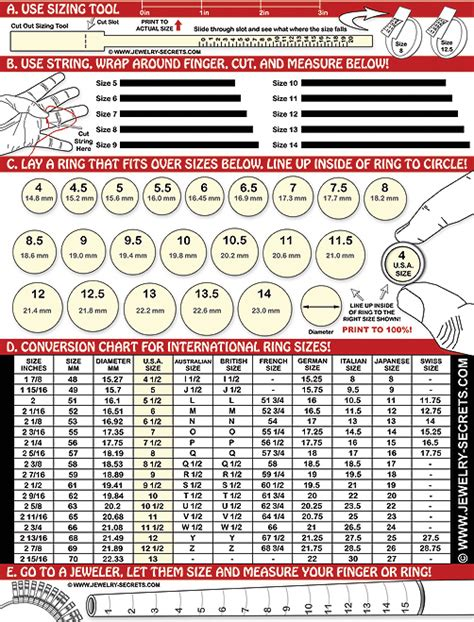 ring sizing template free printable ring finger size chart jewelry secrets
