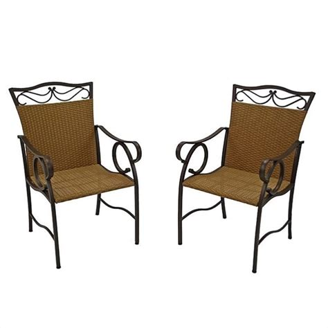 Resin Wicker Dining Chairs International Caravan Valencia Resin Wicker Steel Patio Dining Chair Set Of 2 4108 2ch