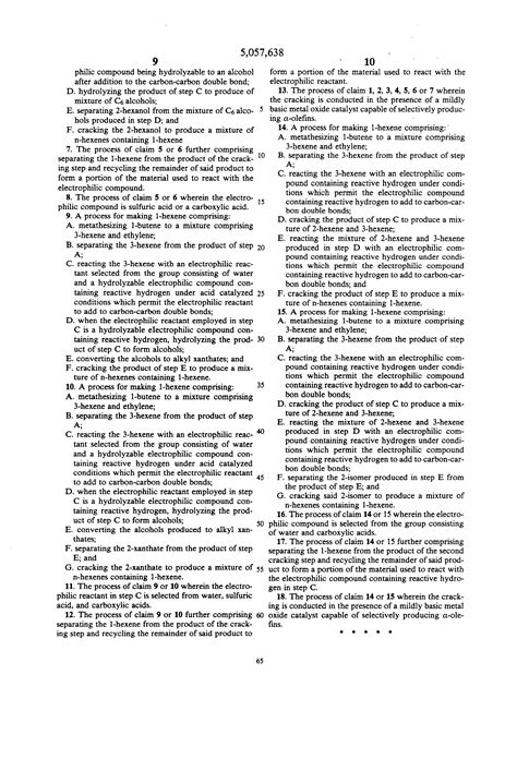 1 hexene hydration patent us5057638 process for 1 hexene from 1