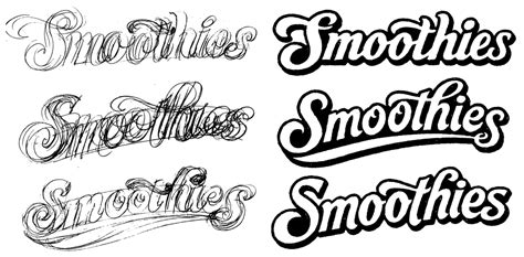 logo development sketches the of lettering smoothies logo development