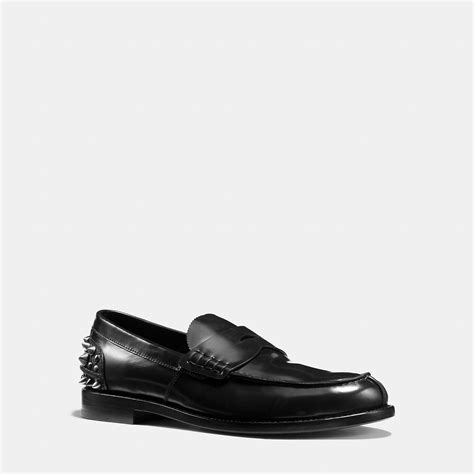 mens coach loafers coach studded loafer in black for lyst
