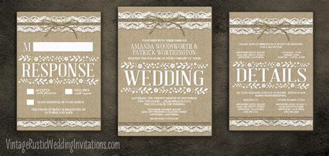 burlap and twine wedding invitations burlap wedding invitations vintage rustic wedding invitations