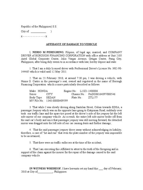 Insurance Claim Letter For Flood Damage Affidavit Of Damage To Vehicle