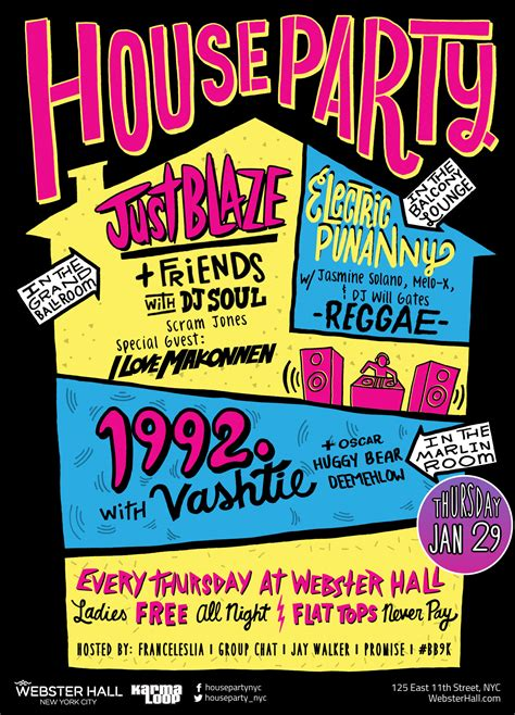 Open House Plans by Invite 1992 The Party At Webster Hall X House Party
