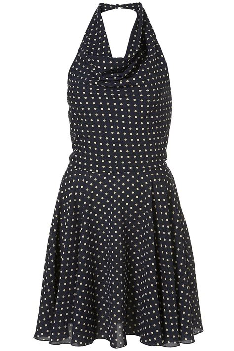 Dress Navy Polkadot topshop polka dot halter dress in blue navy blue lyst