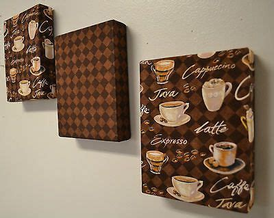 coffee theme fabric wall hanging set of 3 6 quot x8 quot ea