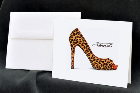 Custom Gift Card Printing - leopard print personalized note cards by theenchantedenvelope