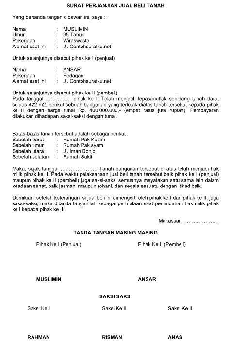 Contoh Surat Perjanjian Pembelian Tanah Terbaru Format