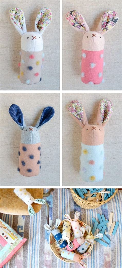 diy crafts for baby diy handmade bunnies softies rabbits rattles toys simple sewing project floral