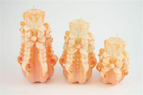 candele intagliate candela intagliata nastro salmone candele shop