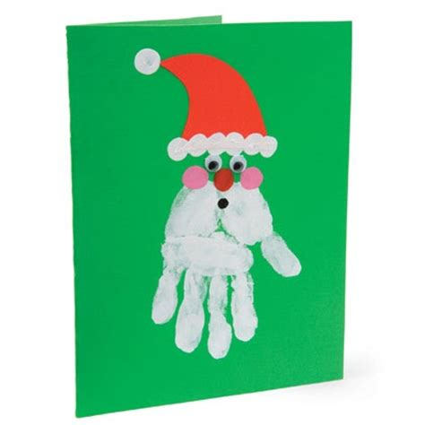 santa handprint christmas card craft preschool education