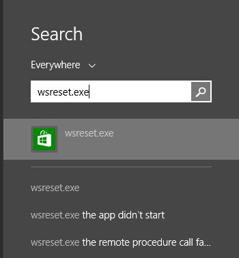 reset android exe reset the windows store cache