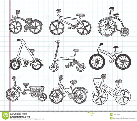 doodle motorcycle doodle bicycle icons stock vector image of outline metal