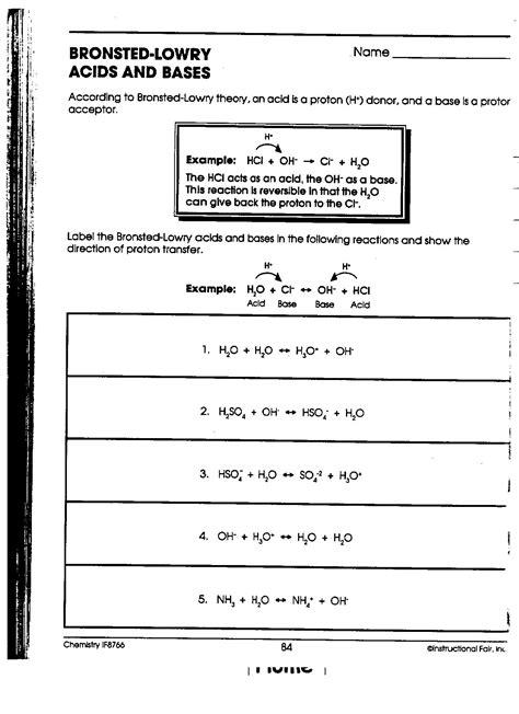 Arrhenius Acid Base Worksheet