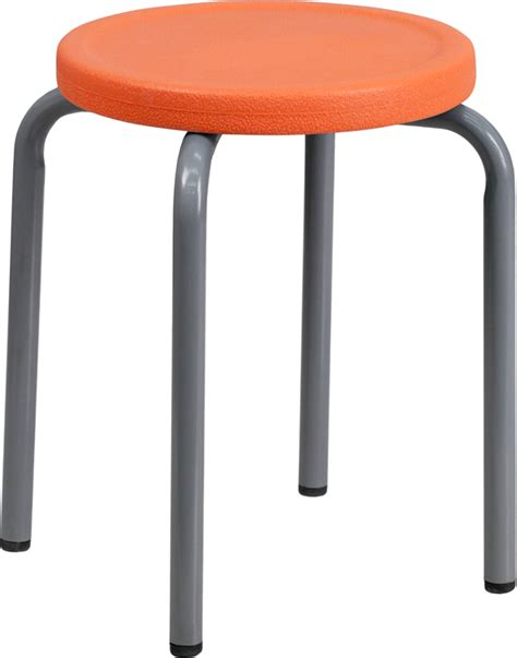 Stacking Stools by Stackable Stool With Orange Seat And Silver Powder Coated