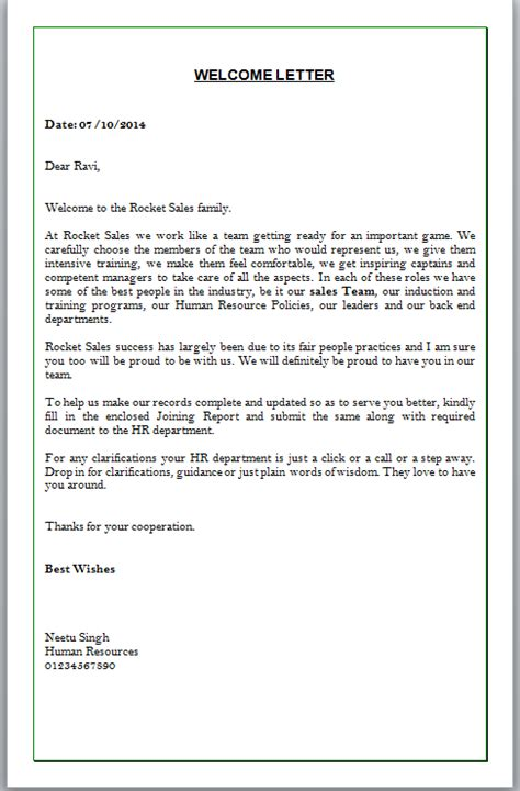 Bank Welcome Letter Welcome Letter Format