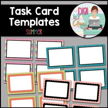task card template task card templates clip summer by digi by tpt