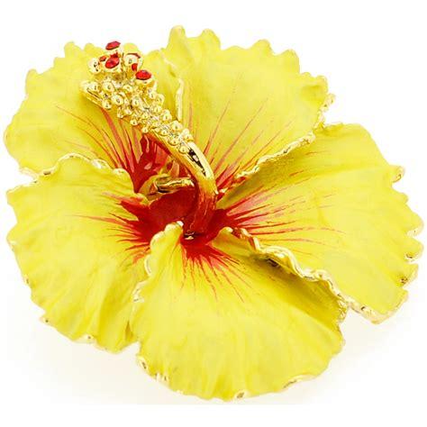hawaiian yellow hibiscus orange yellow hibiscus yellow hawaiian hibiscus flower swarovski crystal brooch