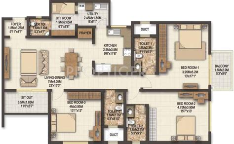 sobha floor plan 1800 sq ft 3 bhk 3t apartment for sale in sobha marvella
