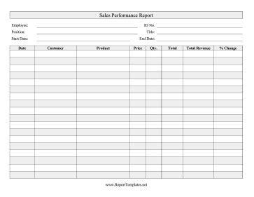sales performance report template sales performance report report template