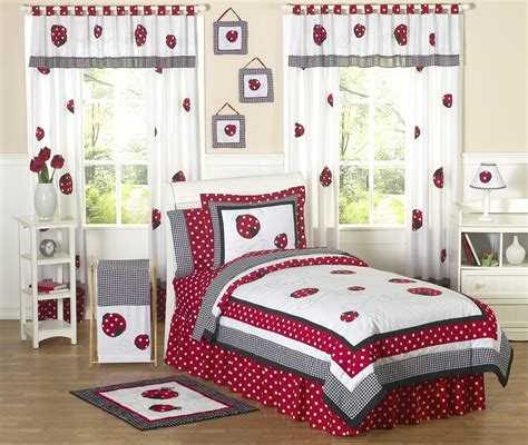 Ladybug Bedroom | little red white black ladybug girls bedding twin or full
