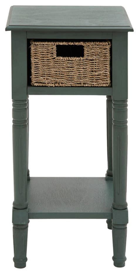 accent table with baskets urban designs wicker basket wooden end and accent table