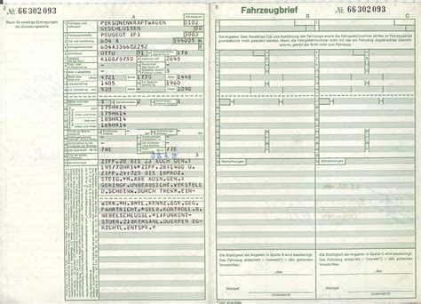 Auto Brief by Kfz Briefe Peugeot 604 Sl