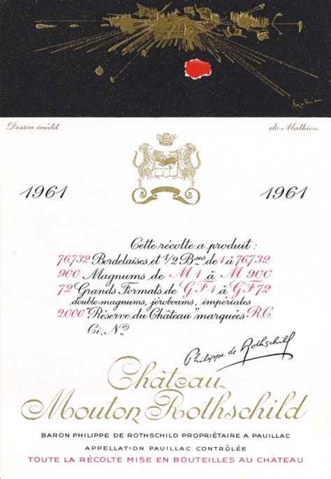 ch 226 teau mouton rothschild the labels room mouton rothschild 1961 georges mathieu