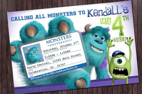 Monsters University 1 Birthday Printable Party Invitation Monsters Inc Birthday Invitations Template