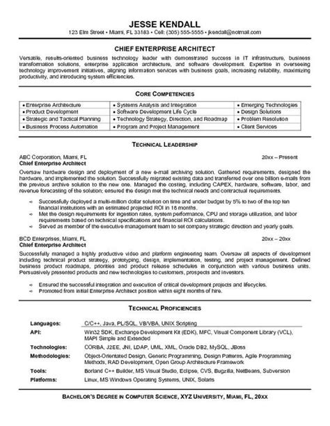 sle of enterprise architect resume http