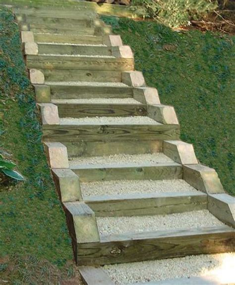Landscape Timbers On A Hill Pressure Treated Timber And Gravel Stairs Yard Ideas