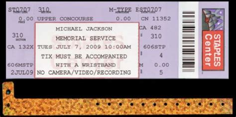 Michael Jackson Memorial Service Ticket   The Hollywood Gossip