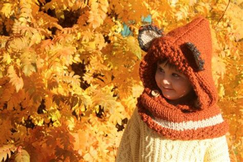 Woodland fox cowl hat hand knit made to order in by piggyandbear 55