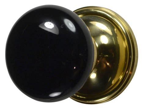Door Knobs Black by Black Porcelain Door Knob Polished Brass Plate