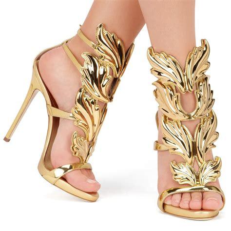 Sandal High Heels Gladiator Selop Tali Gold Silver Kulit 5cm sell high heel sandals gold leaf gladiator sandal shoes dress shoe