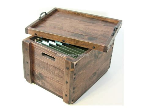 Table Top File Box by Wood Crate Office File Storage Box With By Bridgewoodplace